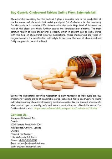 Buy Generic Cholesterol Tablets Online