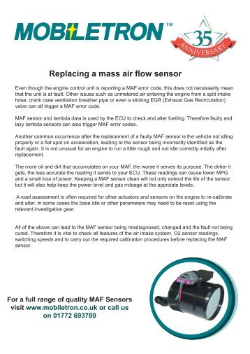 Replacing MAF sensor - Mobiletron