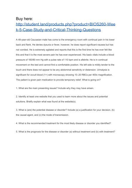 BIOS260 Week 5 Case Study and Critical Thinking Questions