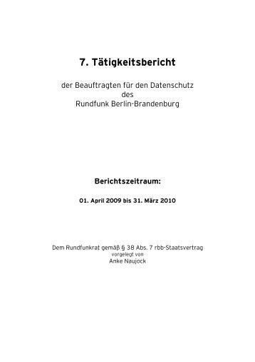 7. Tätigkeitsbericht - beim rbb
