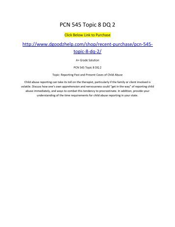 PCN 545 Topic 8 DQ 2