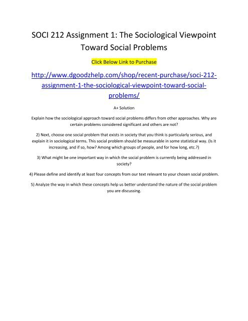 SOCI 212 Assignment 1 The Sociological Viewpoint Toward