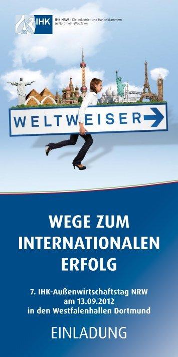 Anmeldeschluss: 7. September 2012 - IHK-Außenwirtschaftstag NRW
