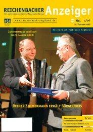 Reiner Zimmermann erhält Bürgerpreis - Reichenbach