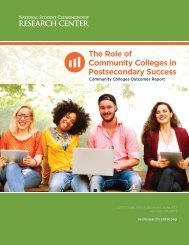 The Role of Community Colleges in Postsecondary Success
