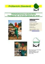Prüfbericht (Standard) Waldarbeiteranzug Leipold+Döhle