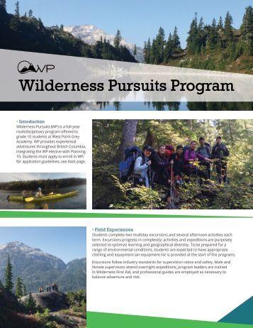 Wilderness Pursuits Program Brochure 2017-2018