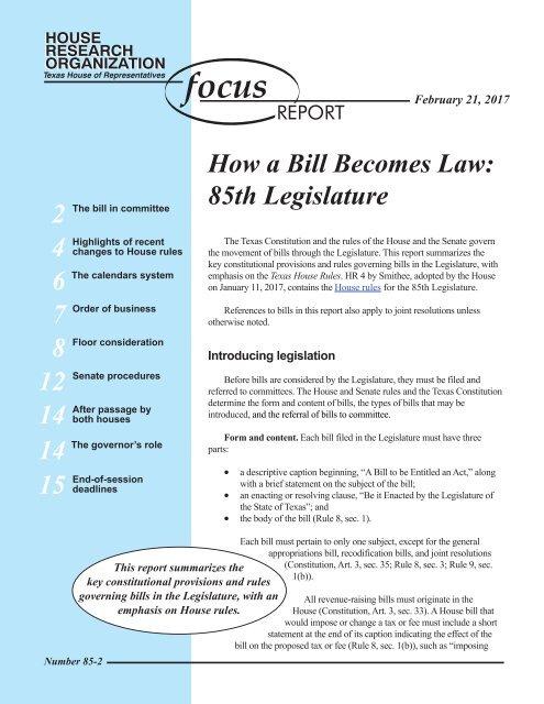 4 6 7 8 12 14 14 15 How A Bill Becomes Law 85th Legislature