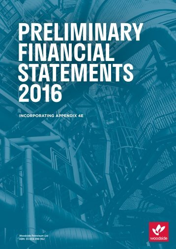 PRELIMINARY FINANCIAL STATEMENTS 2016