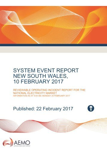 SYSTEM EVENT REPORT NEW SOUTH WALES 10 FEBRUARY 2017