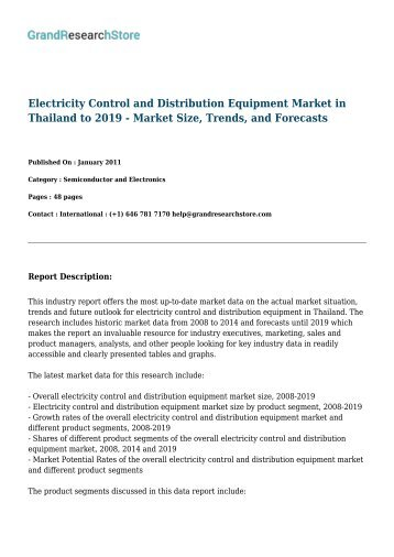 Electricity Control and Distribution Equipment Markets in the Top 5 European Countries to 2019 - Market Size, Trends, and Forecasts