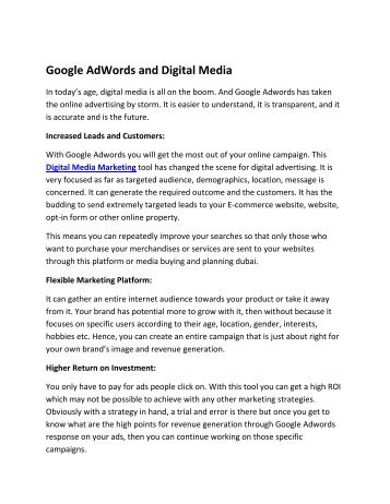 Google AdWords and Digital Media