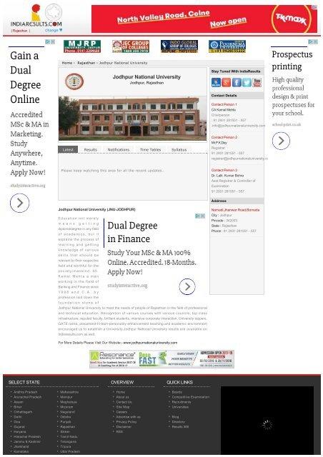 Kamal Mehta Jodhpur National University (JNU)-India Results