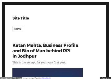 Ketan Mehta-Rays Power Infra Jodhpur |Business Profile & Bio