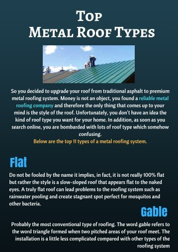 Know about Top Metal Roofing Types