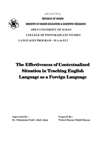 The Effectiveness of Contextualized Situation in Teaching English Language as a Foreign Language
