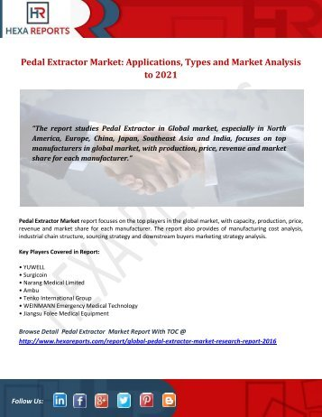 Pedal Extractor Market Applications, Types and Market Analysis to 2021