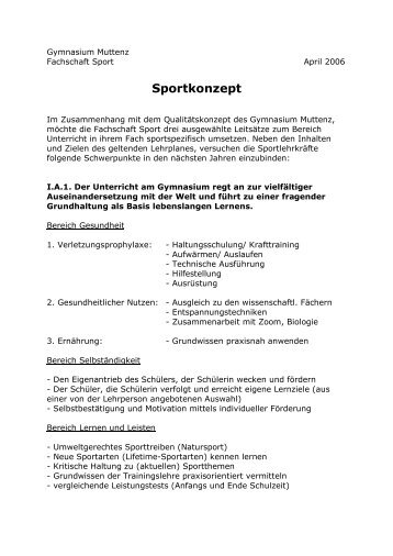 Sportkonzept - Gymnasium Muttenz