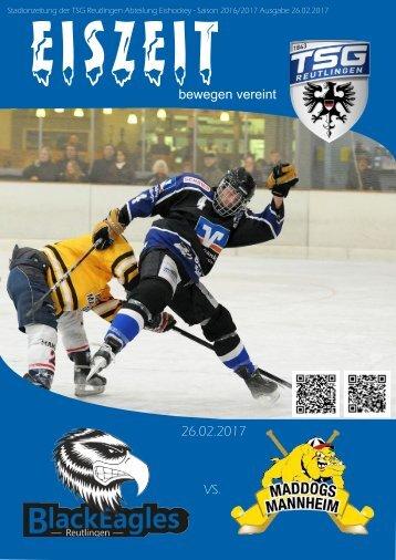 Stadionzeitung Reutlingen BalckEagles vs EKU Mannheim Mad Dogs 1b 26022017