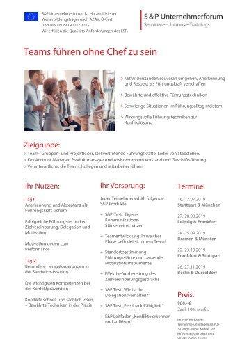 S&P - Seminare - Inhouse Training - Führen ohne Hierarchie von A-Z - S&P Unternehmerforum