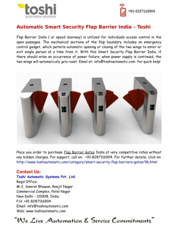 Automatic Smart Security Flap Barrier India – Toshi  Automatic