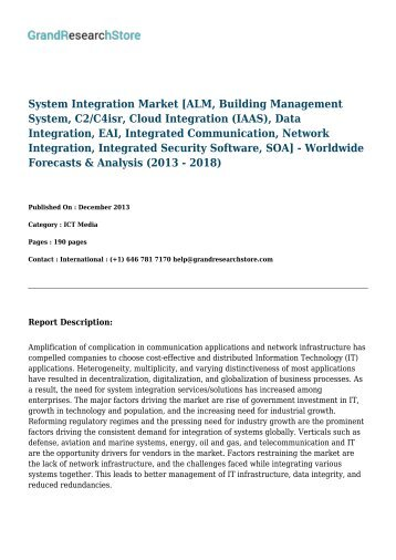 System Integration Market - Worldwide Forecasts & Analysis (2013 - 2018)