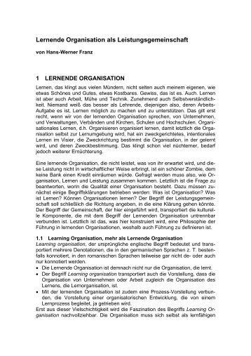 Lernende Organisation als Leistungsgemeinschaft