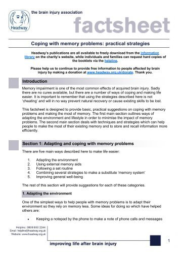 Coping with memory problems practical strategies