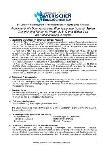 Richtlinie für die Durchführung der Eigenleistungsprüfung für Stuten ...