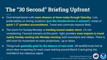 """The """"30 Second"""" Briefing Upfront"""