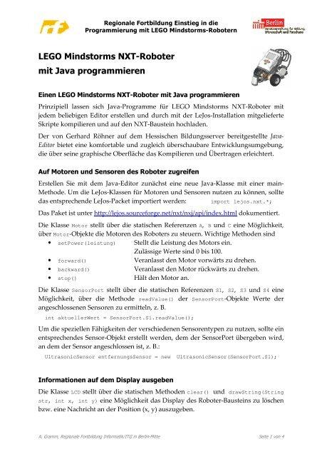 Lego Mindstorms Nxt Roboter Mit Java Programmieren Pdf