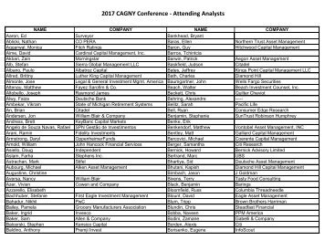 2017 CAGNY Conference - Attending Analysts