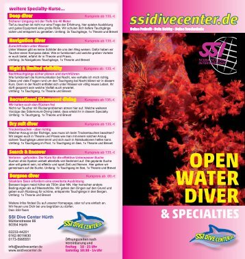 open water diver & specialties - IDDive-Center