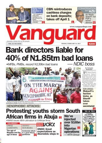 24022017 Bank directors liable for 40% of N1.85trn bad loans— NDIC boss