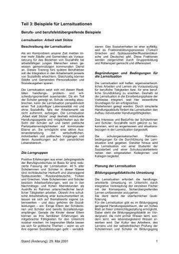 Teil 3: Beispiele für Lernsituationen - Berufsbildung