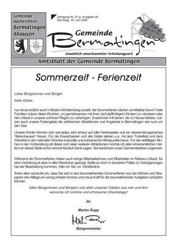 Sommerzeit - Ferienzeit - Bermatingen