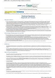 Parkinson-Syndrome Diagnostik und Therapie AWMF online