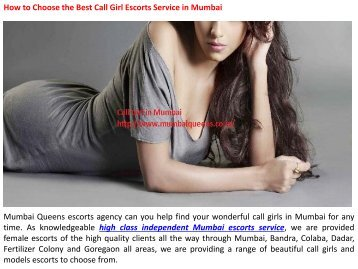 How to Choose the Best Call Girl Escorts Service in Mumbai