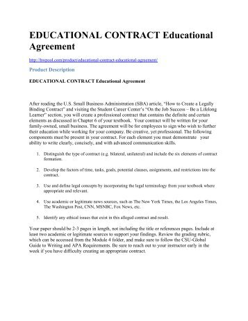 EDUCATIONAL CONTRACT Educational Agreement