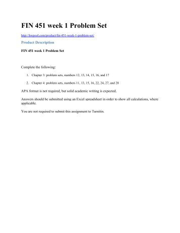 FIN 451 week 1 Problem Set
