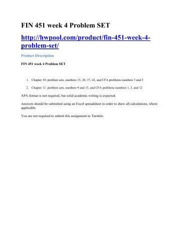 FIN 451 week 4 Problem SET