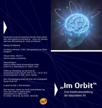 IM ORBIT Informationsflyer PDF download - Partyservice Artischock