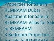 Properties for Sale in REMRAAM Dubai-Goldmark.ae