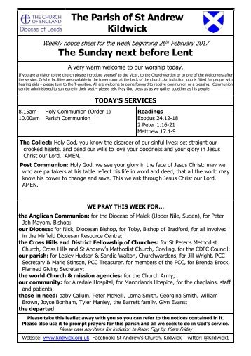 The Parish of St Andrew Kildwick The Sunday next before Lent