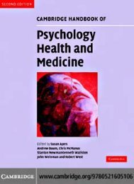 Cambridge Handbook of Psychology, Health and Medicine, Second ...