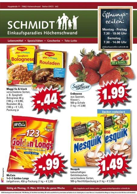kernlos 1.99 - Einkaufsparadies Schmidt