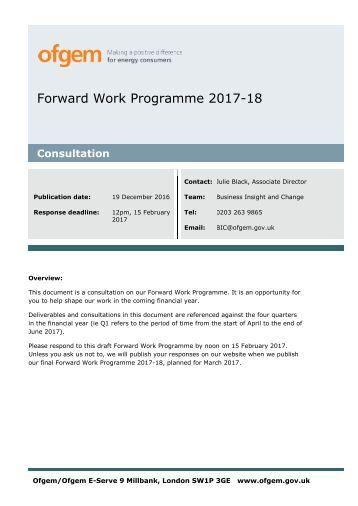 Forward Work Programme 2017-18