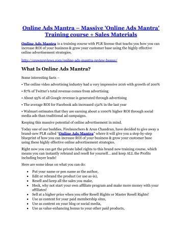 Online Ads Mantra review demo and premium bonus