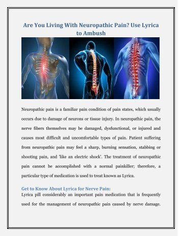 Are You Living With Neuropathic Pain-Use Lyrica