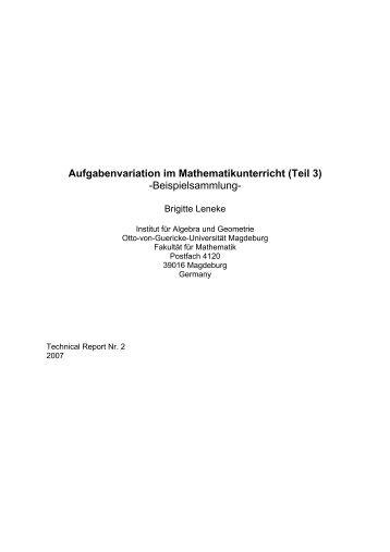 Aufgabenvariation im Mathematikunterricht - Fakultät für Mathematik ...